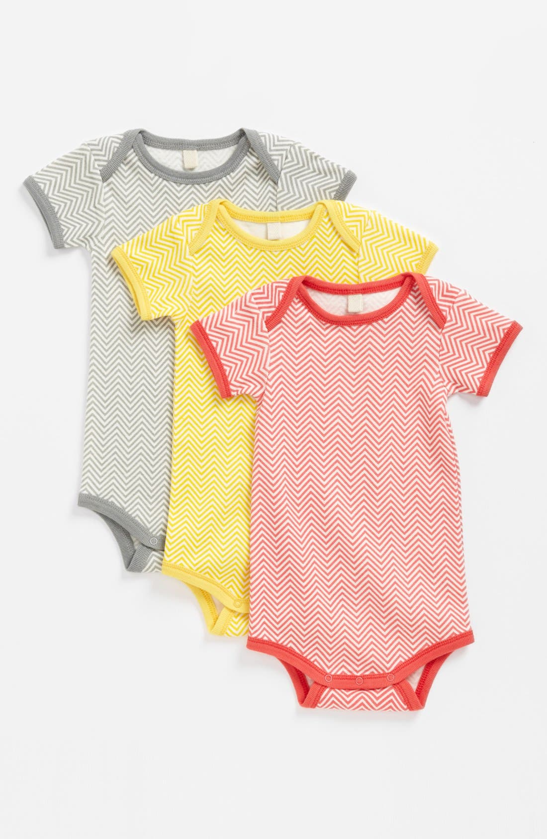 Alternate Image 1 Selected - Stem Baby Organic Cotton Bodysuit (3-Pack) (Baby Girls)