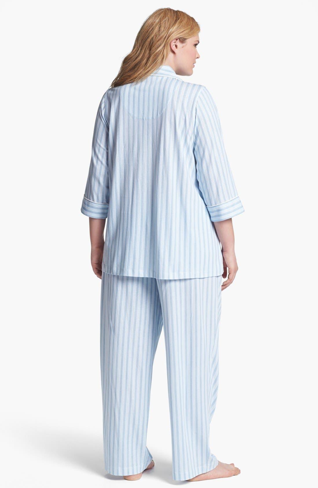 Alternate Image 2  - Lauren Ralph Lauren Stripe Knit Pajamas (Plus Size)