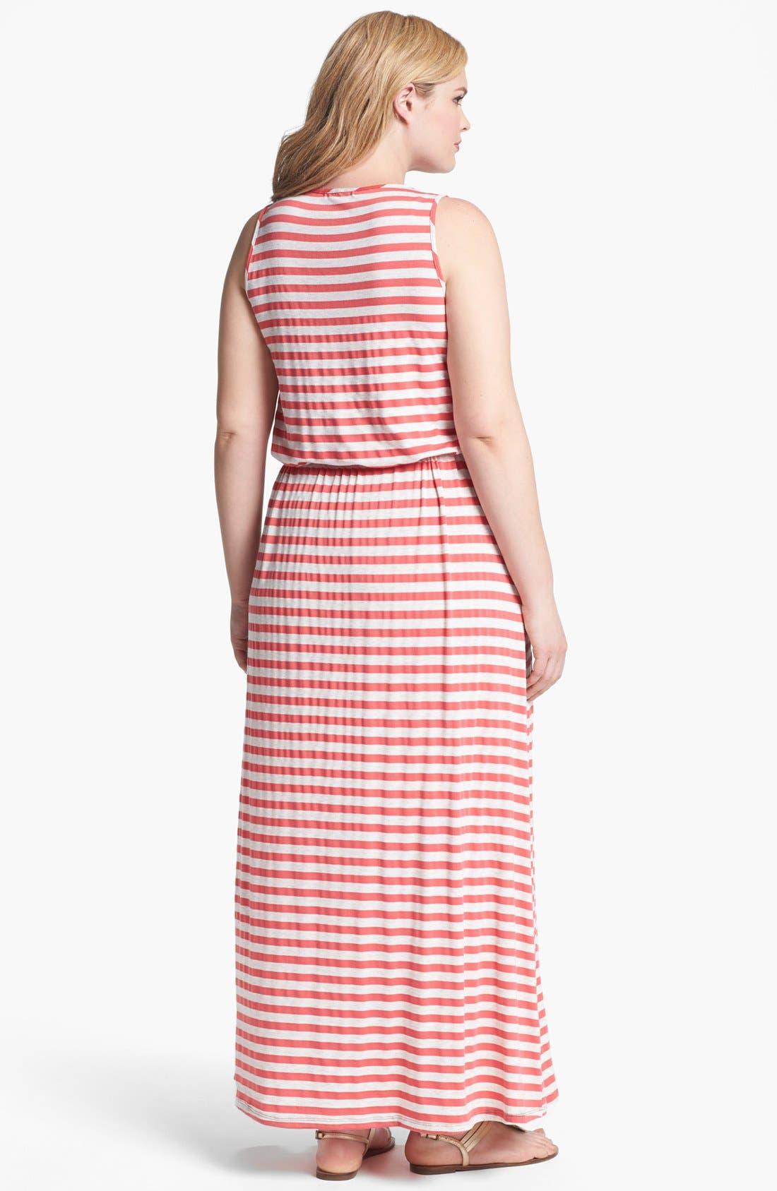 Alternate Image 2  - Olivia Moon Stripe Jersey Maxi Dress (Plus Size)