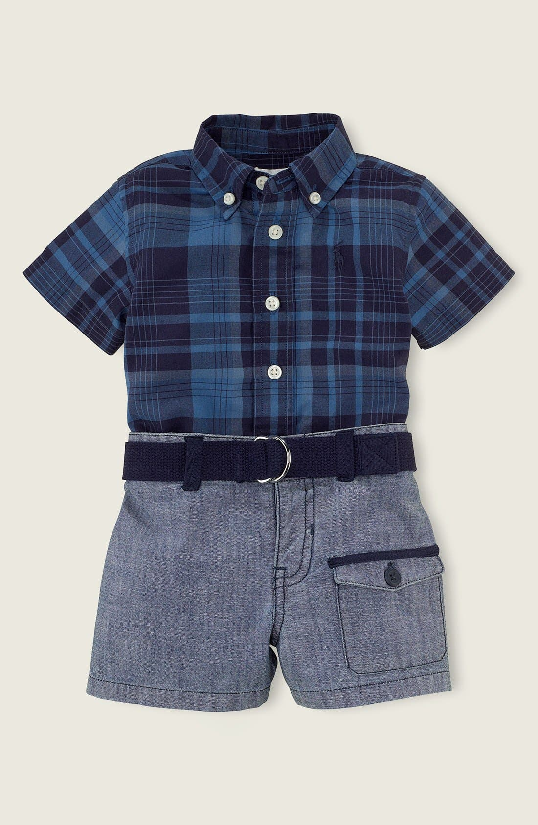 Alternate Image 2  - Ralph Lauren Plaid Shirt & Shorts (Baby Boys)