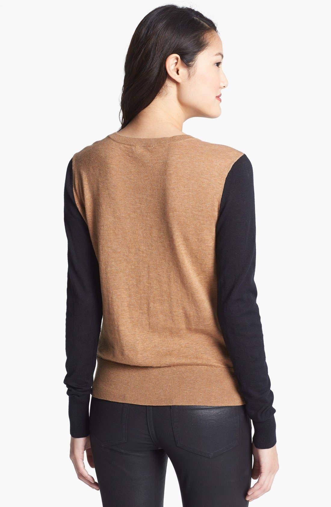 Alternate Image 2  - Halogen® Crewneck Sweater (Regular & Petite)