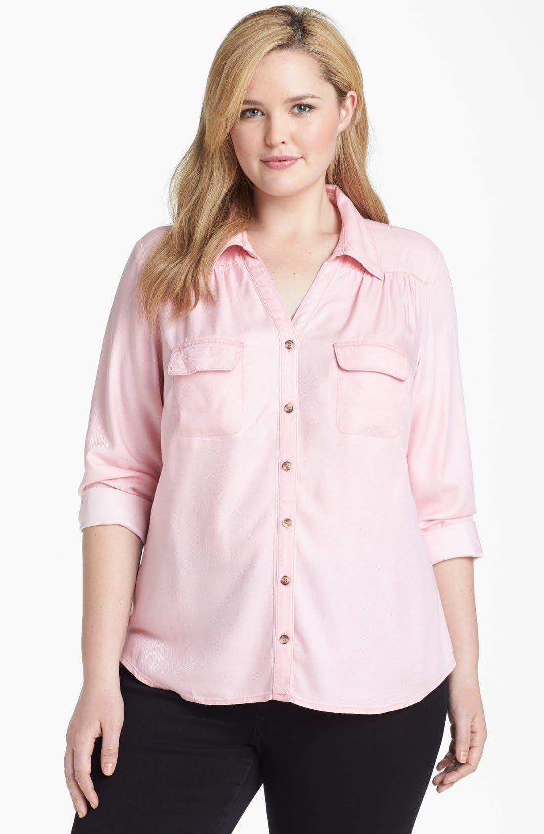 Main Image - Sejour Chambray Shirt (Plus Size)