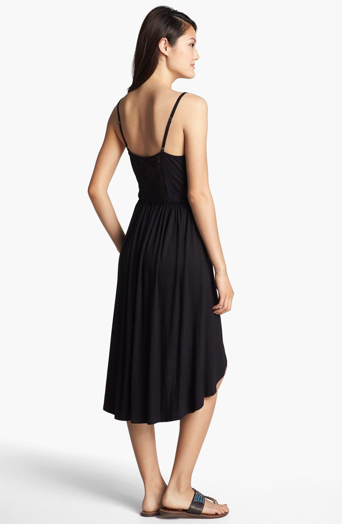 Alternate Image 2  - Loveappella Lace Yoke Dress (Petite)