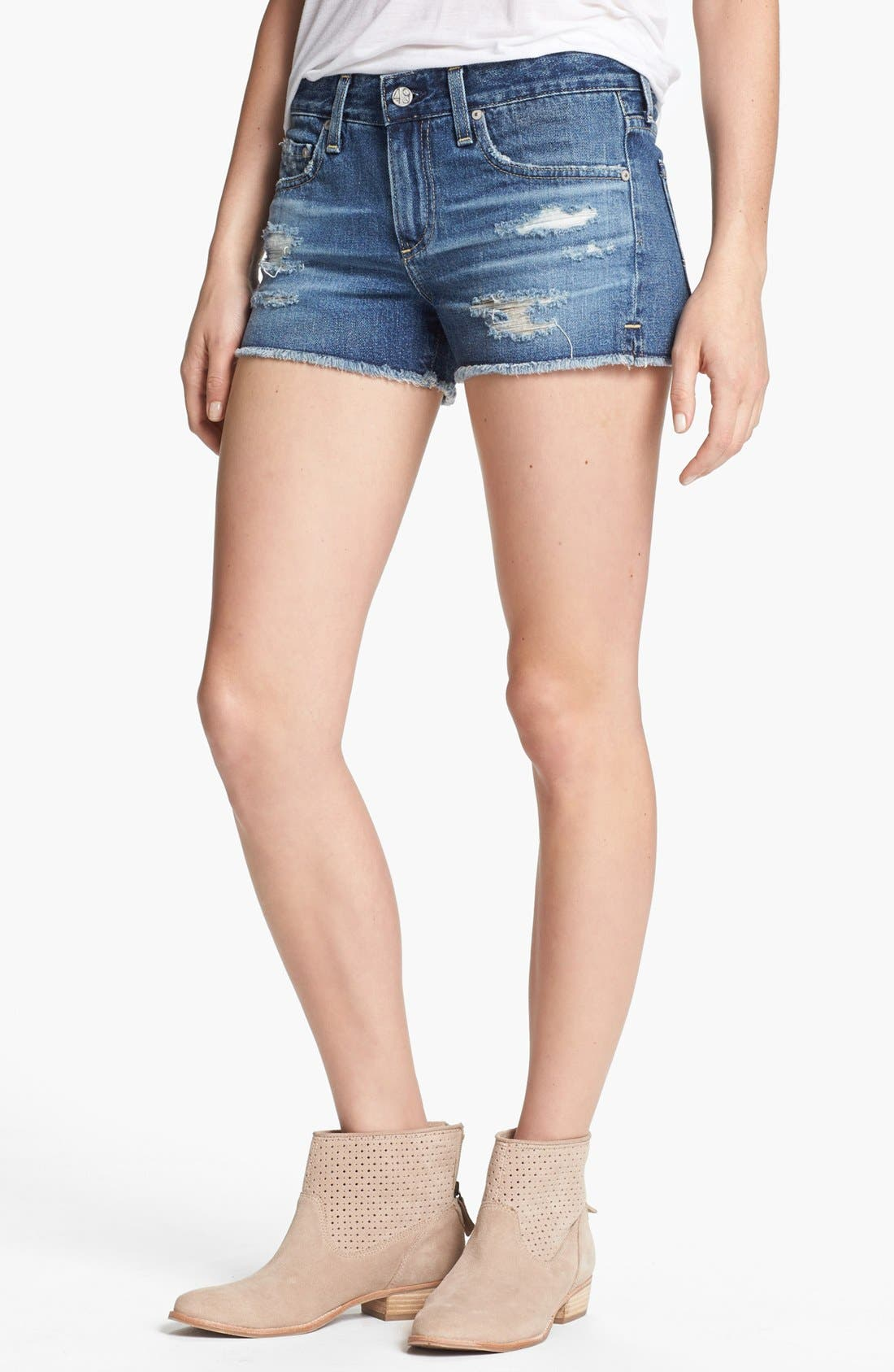 Alternate Image 1 Selected - AG Jeans Cutoff Distressed Denim Shorts (14-Year Shred)
