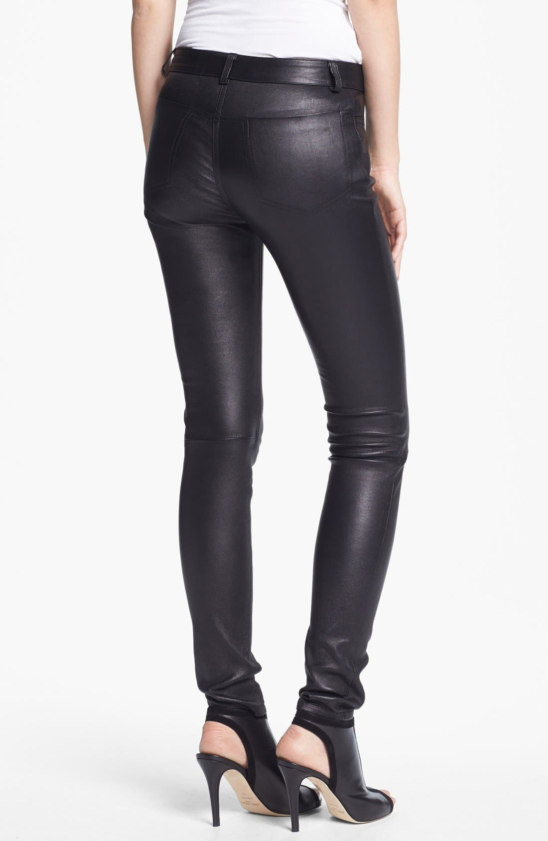 Alternate Image 2  - T by Alexander Wang Stretch Leather Pants
