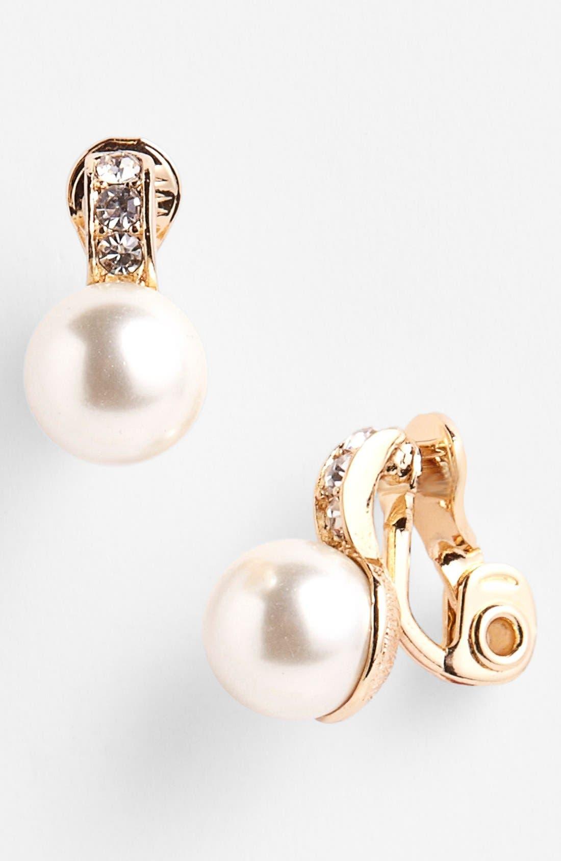 Main Image - Anne Klein Faux Pearl & Crystal Clip Stud Earrings