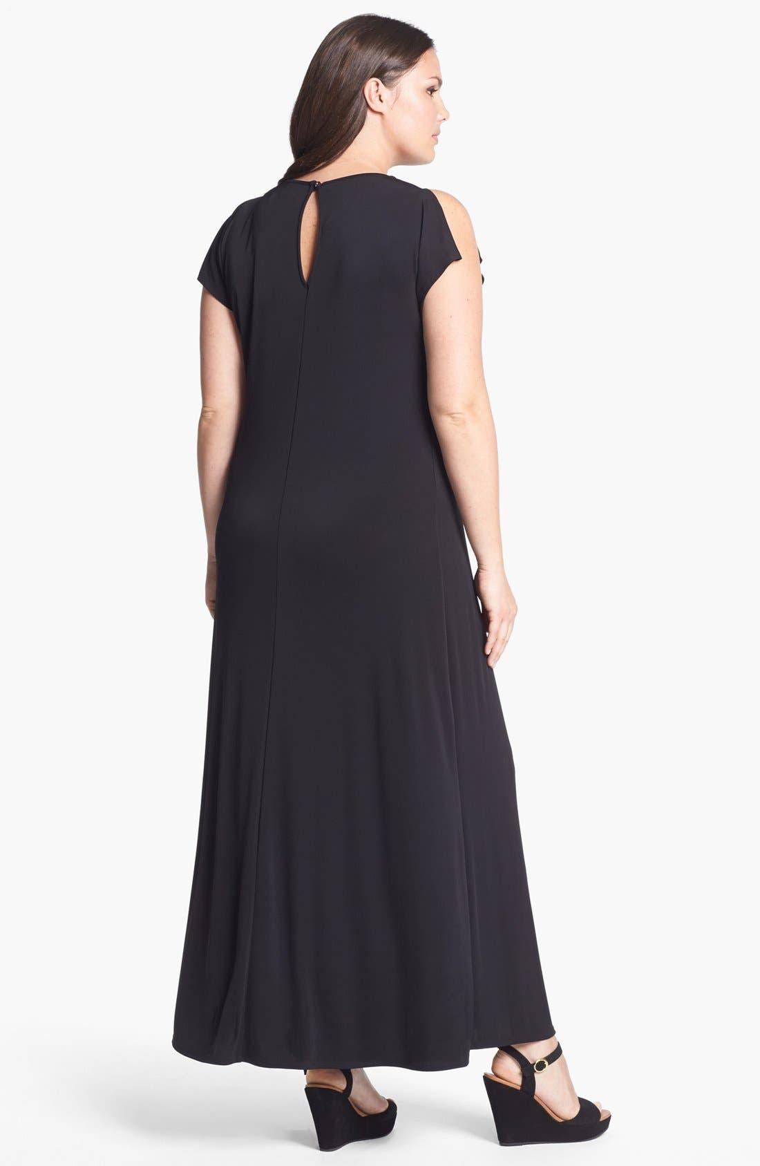 Alternate Image 2  - Evans Cold Shoulder Maxi Dress (Plus Size)