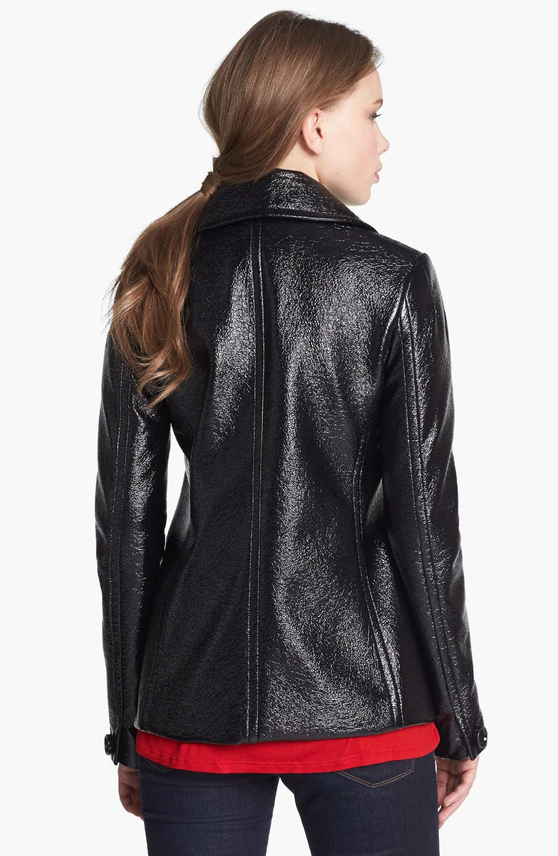 Alternate Image 2  - Vince Camuto Faux Leather Peacoat