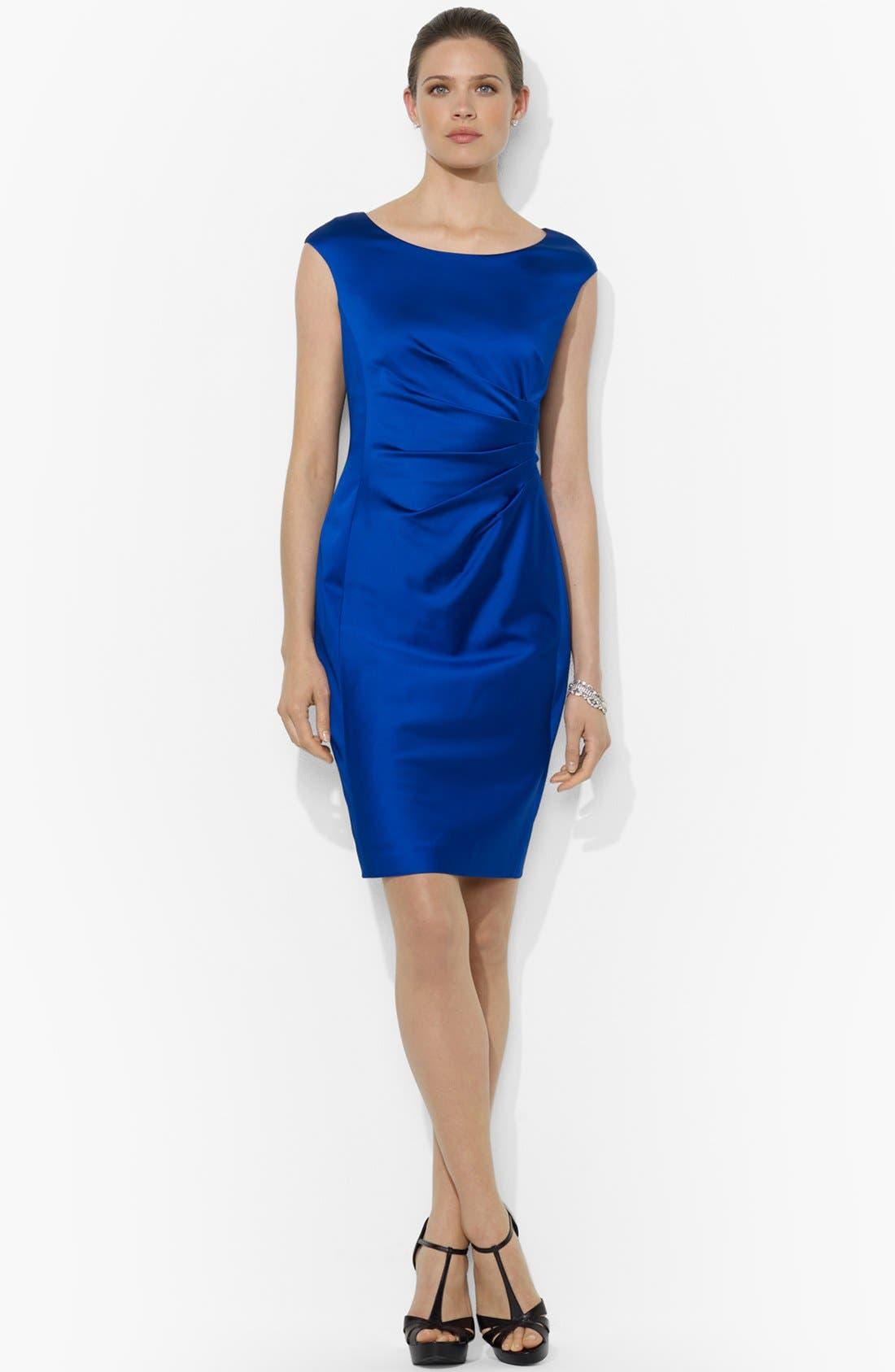 Alternate Image 1 Selected - Lauren Ralph Lauren Side Pleat Satin Sheath Dress