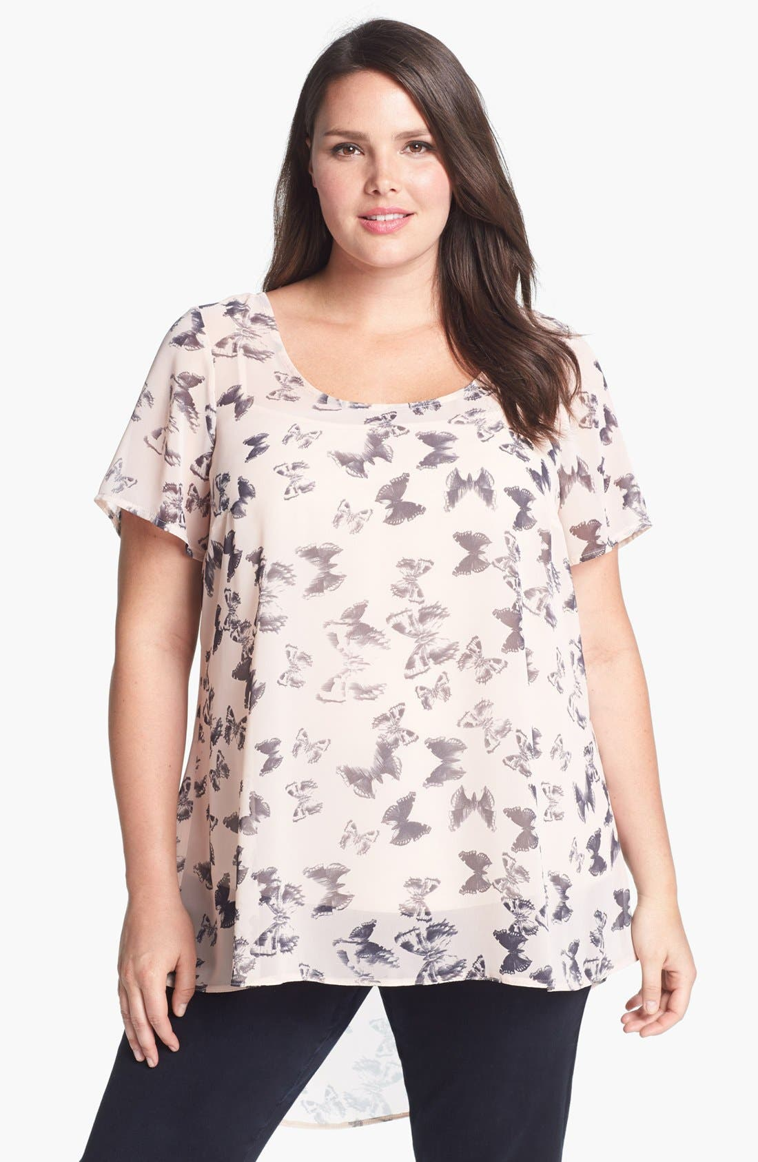 Main Image - Evans Butterfly Print High/Low Top (Plus Size)