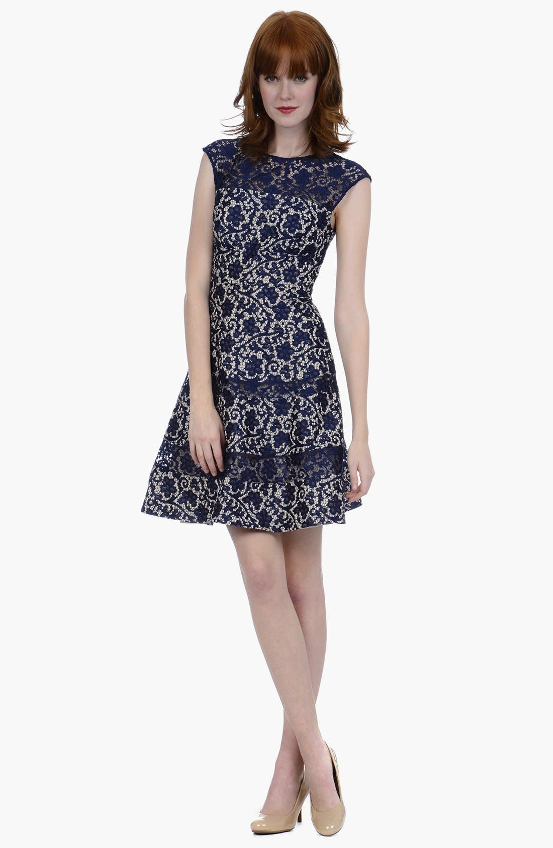 Main Image - Kay Unger Lace Fit & Flare Dress