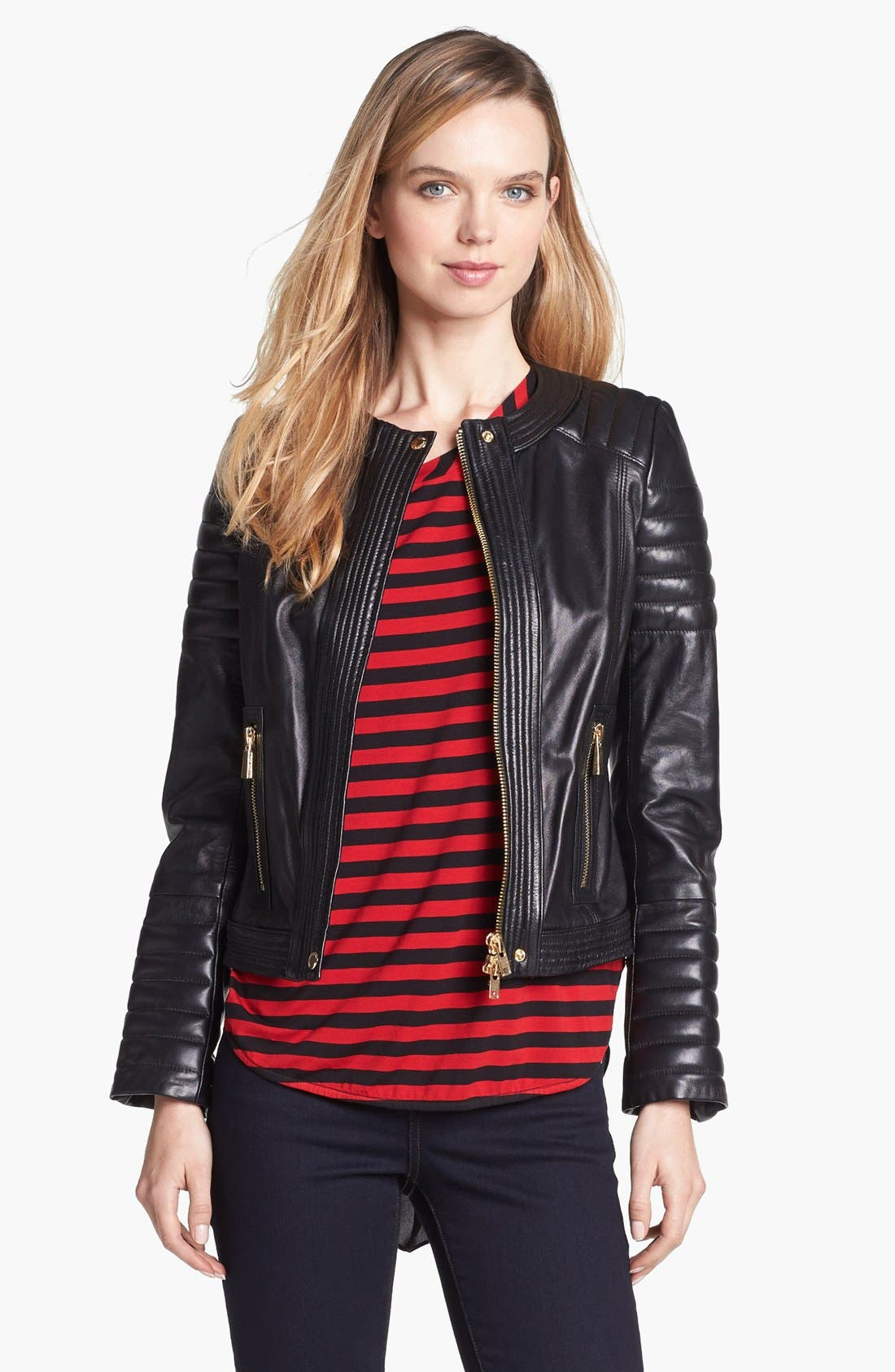 Alternate Image 2  - Vince Camuto Trapunto Quilted Leather Moto Jacket