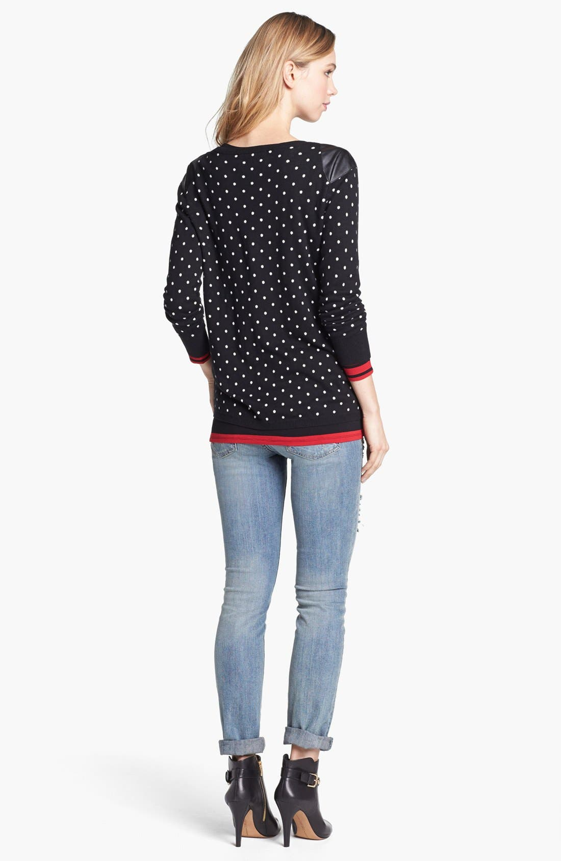 Alternate Image 2  - Two by Vince Camuto Faux Leather Shoulder Dot Sweater