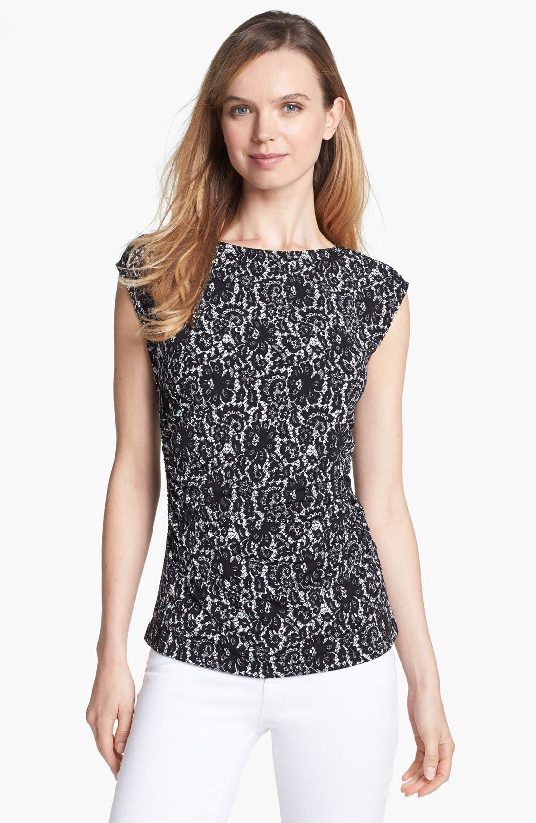 Alternate Image 1 Selected - Vince Camuto Ruched Boatneck Top
