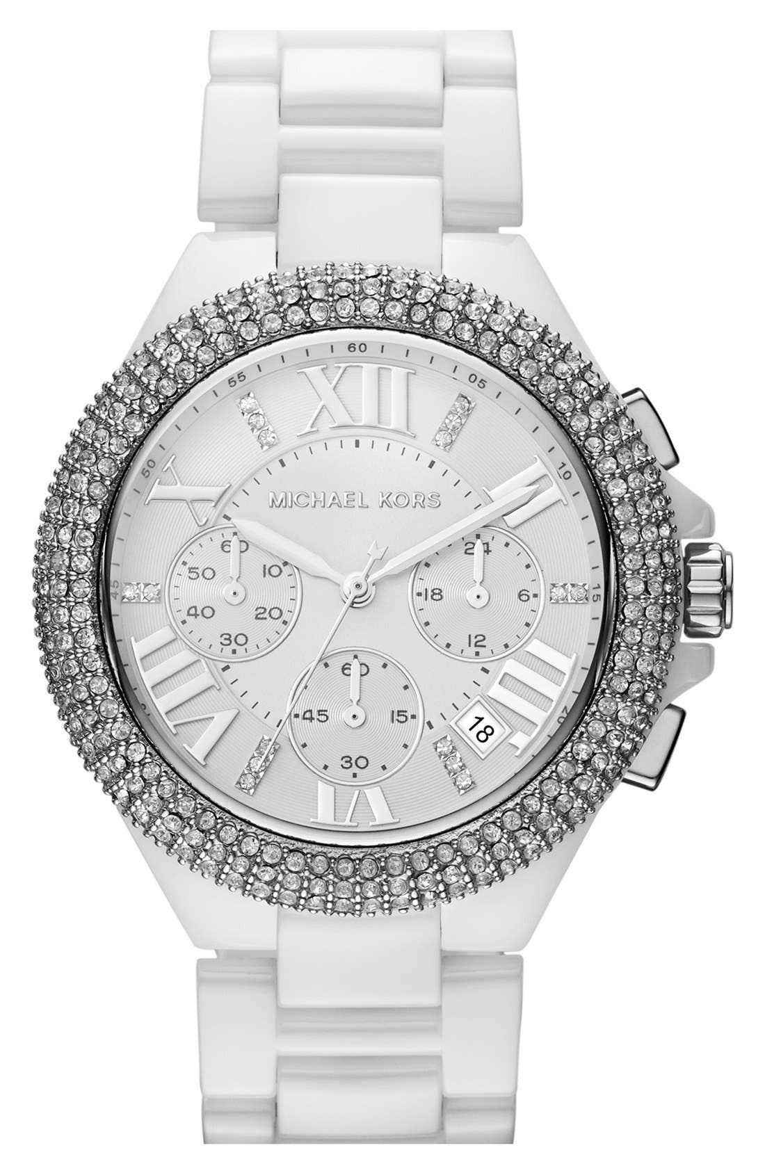 Alternate Image 1 Selected - Michael Kors 'Camille' Chronograph Ceramic Bracelet Watch, 43mm