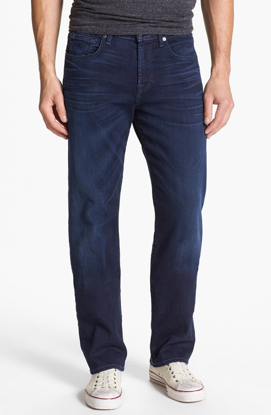 Alternate Image 1 Selected - 7 For All Mankind® 'Carsen - Luxe Performance' Easy Straight Leg Jeans (Half Moon Blue)