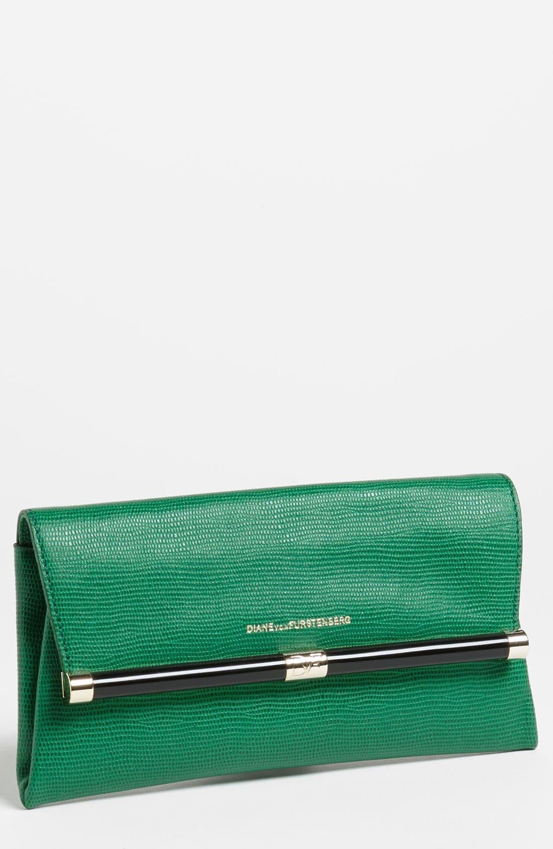 Main Image - Diane von Furstenberg '440 - Envelope' Lizard Embossed Leather Clutch
