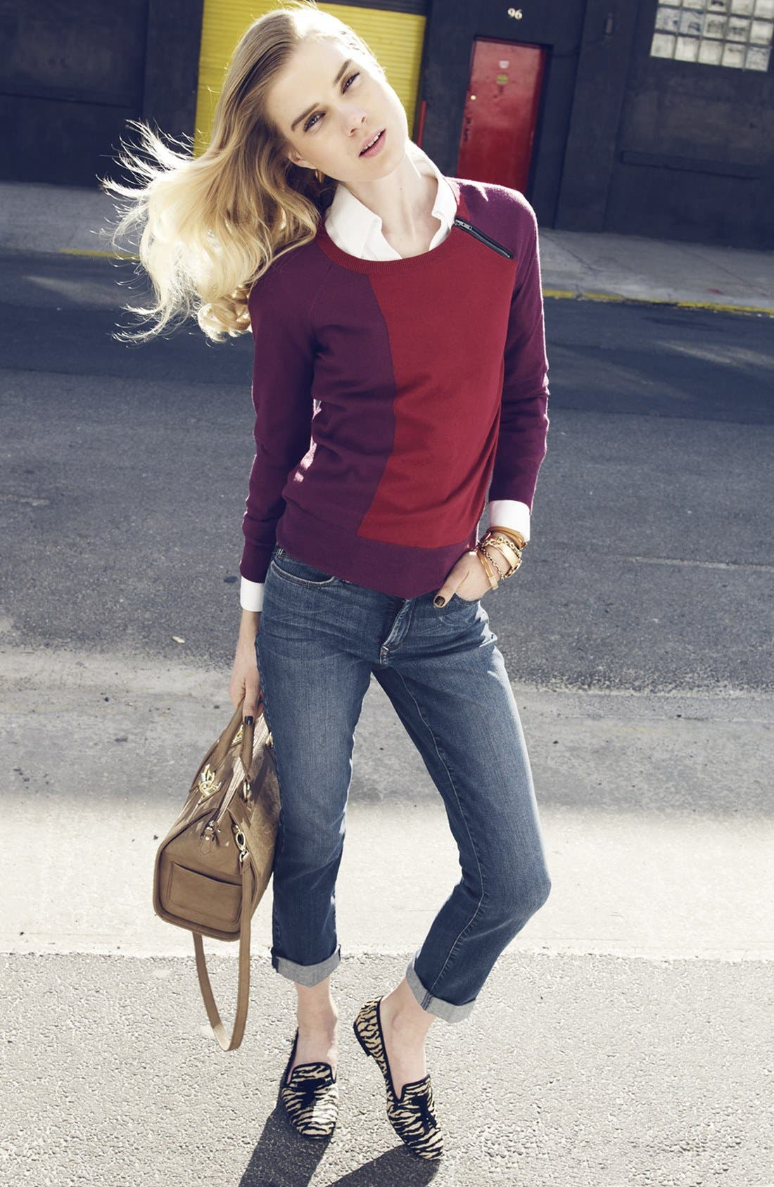 Alternate Image 1 Selected - Amber Sun Sweater, Foxcroft Shirt & NYDJ 'Leann' Skinny Boyfriend Jeans
