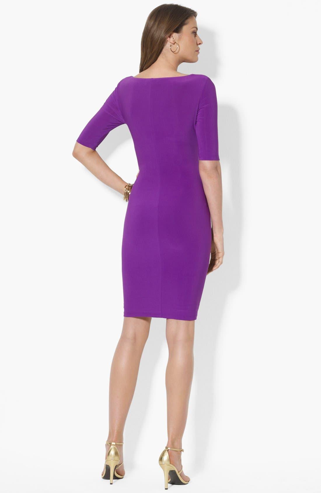 Alternate Image 2  - Lauren Ralph Lauren Cowl Neck Matte Jersey Dress (Petite)