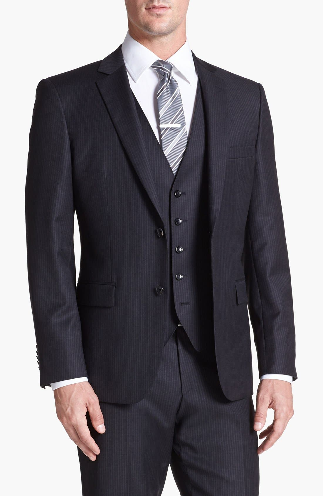 Alternate Image 4  - BOSS HUGO BOSS 'Howard/Court' Trim Fit Three Piece Suit