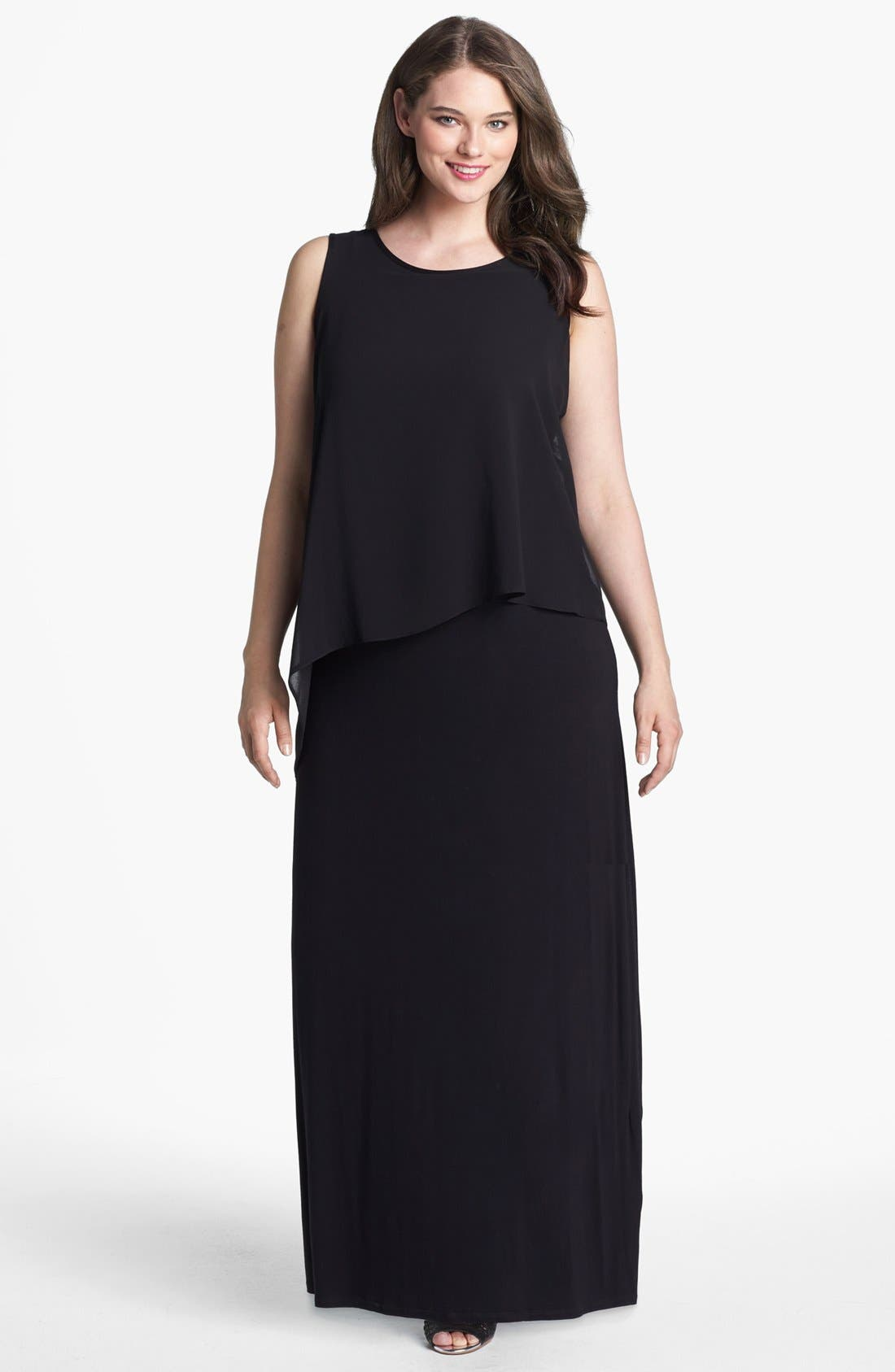 Main Image - Evans Overlay Bodice Maxi Dress (Plus Size)