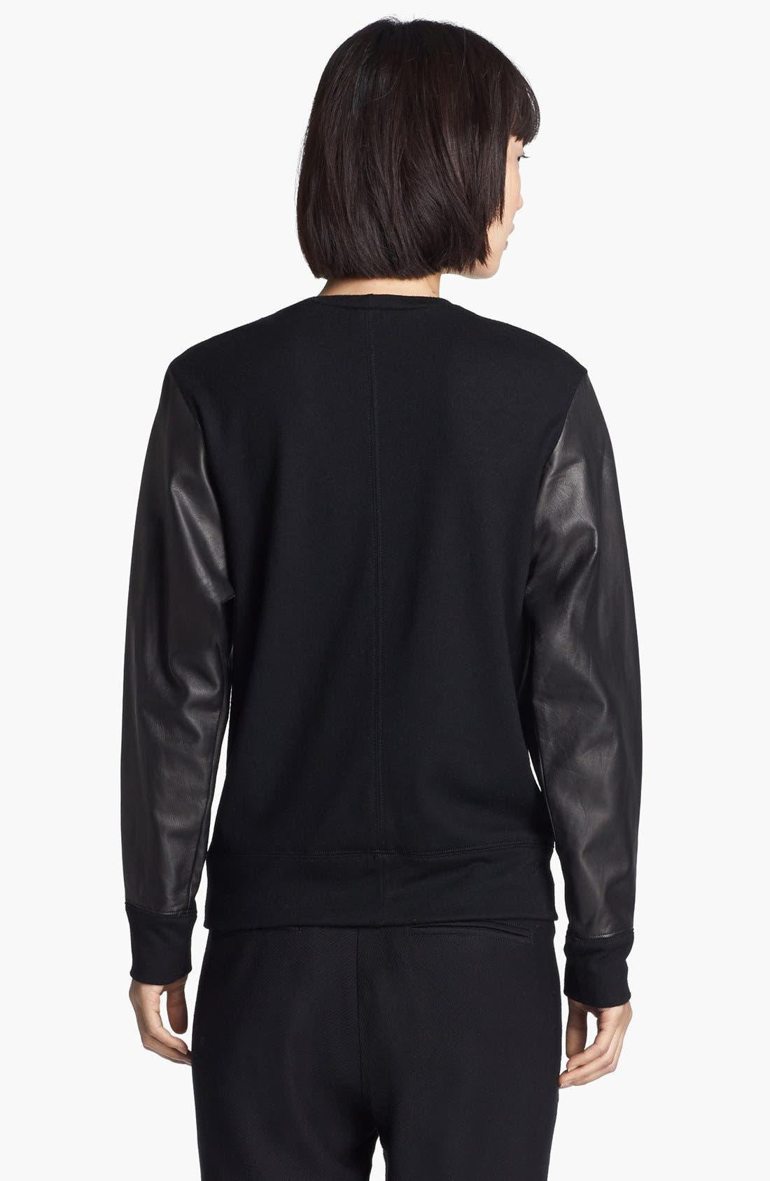 Alternate Image 3  - Helmut Lang Leather Sweatshirt