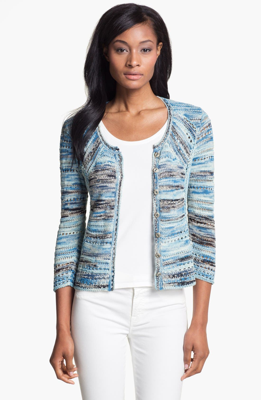 Alternate Image 1 Selected - Nic + Zoe 'Blues' Textured Cardigan (Petite)
