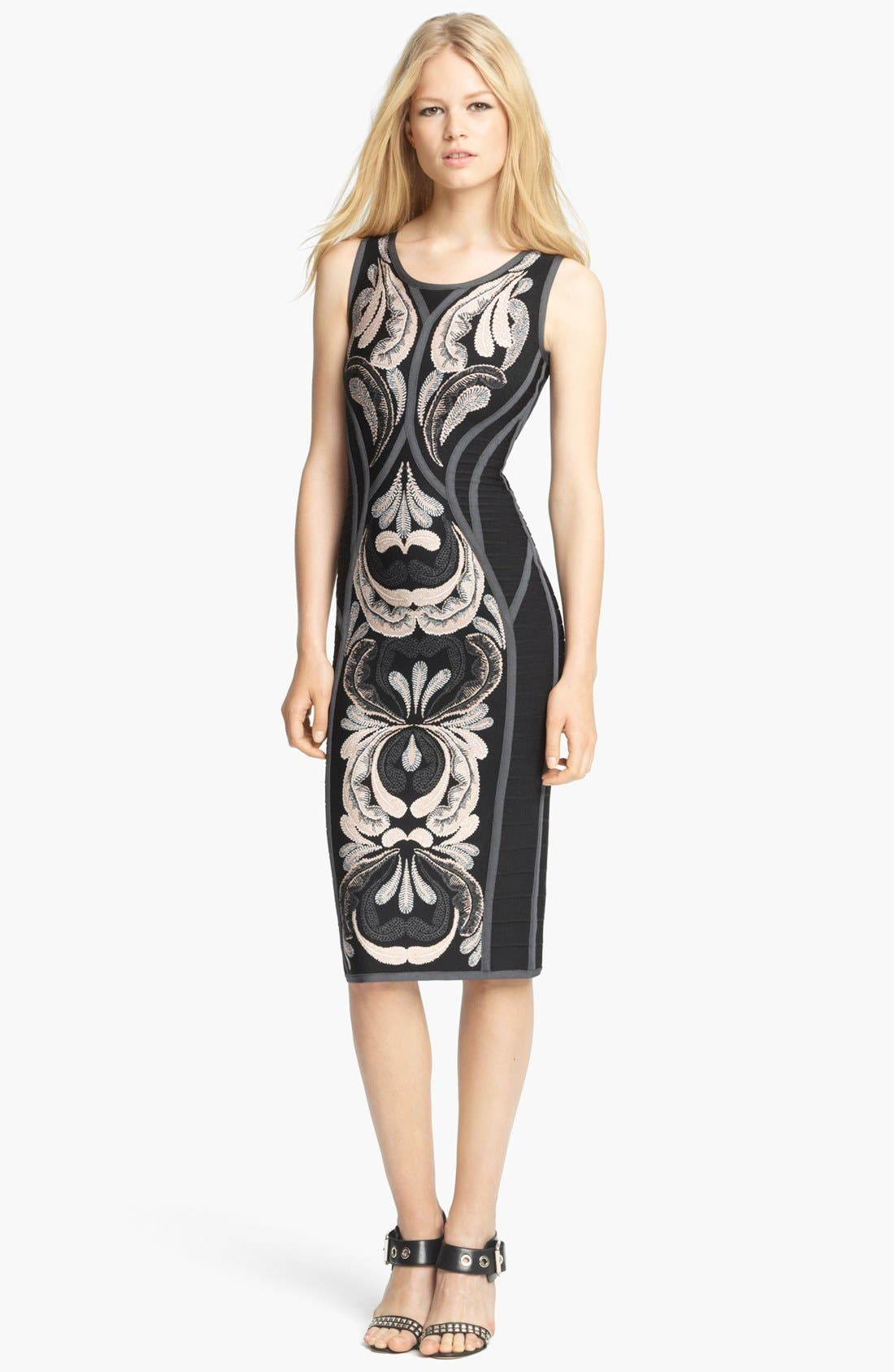 Alternate Image 1 Selected - Herve Leger Sleeveless Embroidered Dress