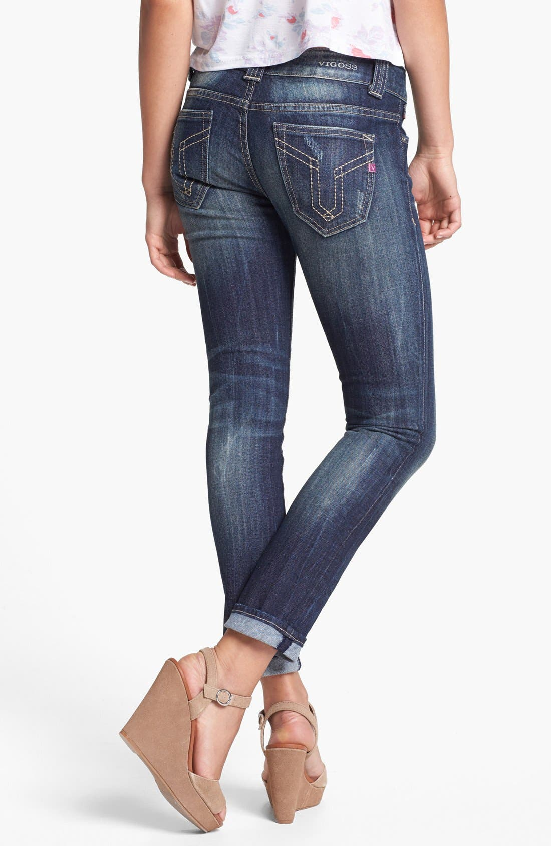 Alternate Image 2  - Vigoss Distressed Jeans (Dark) (Juniors)