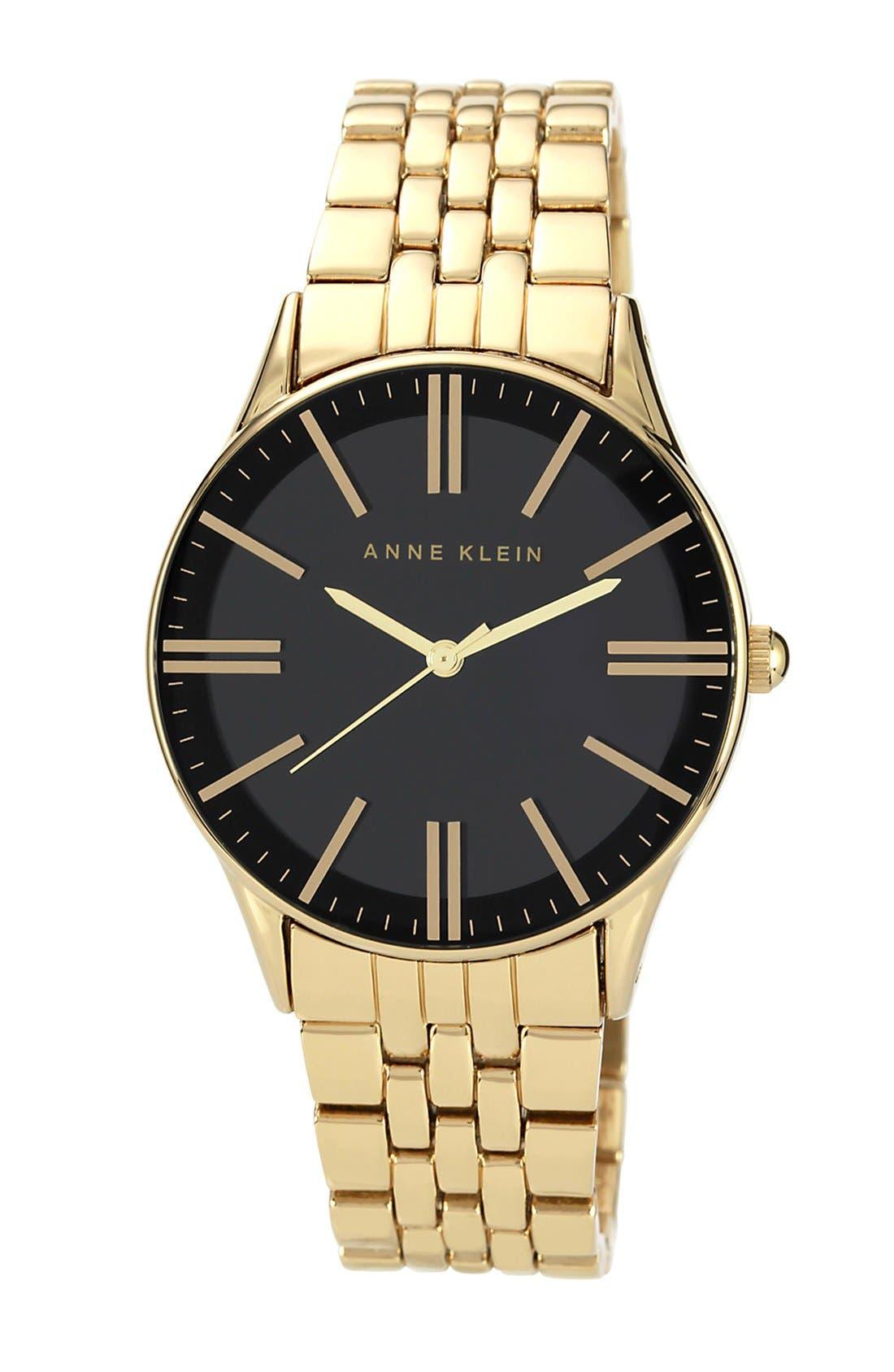 Main Image - Anne Klein Round Black Dial Bracelet Watch, 35mm