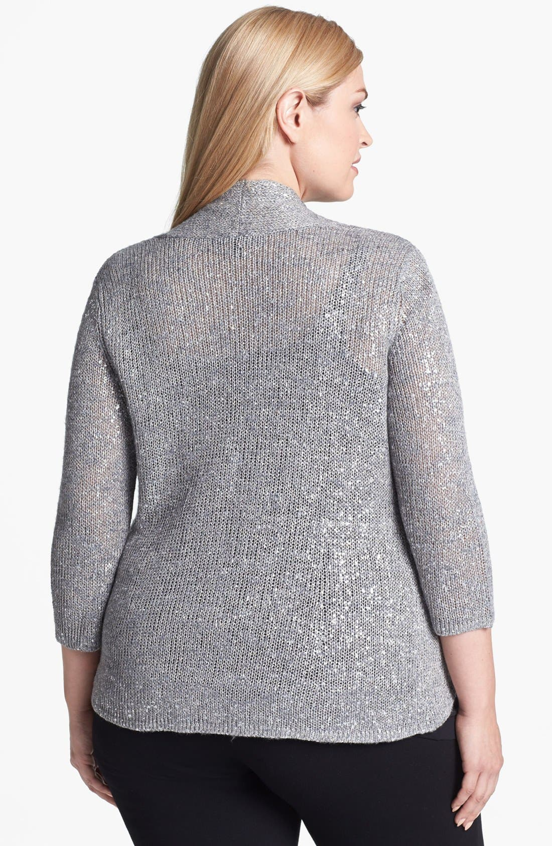 Alternate Image 2  - Eileen Fisher Metallic Cardigan (Plus Size)
