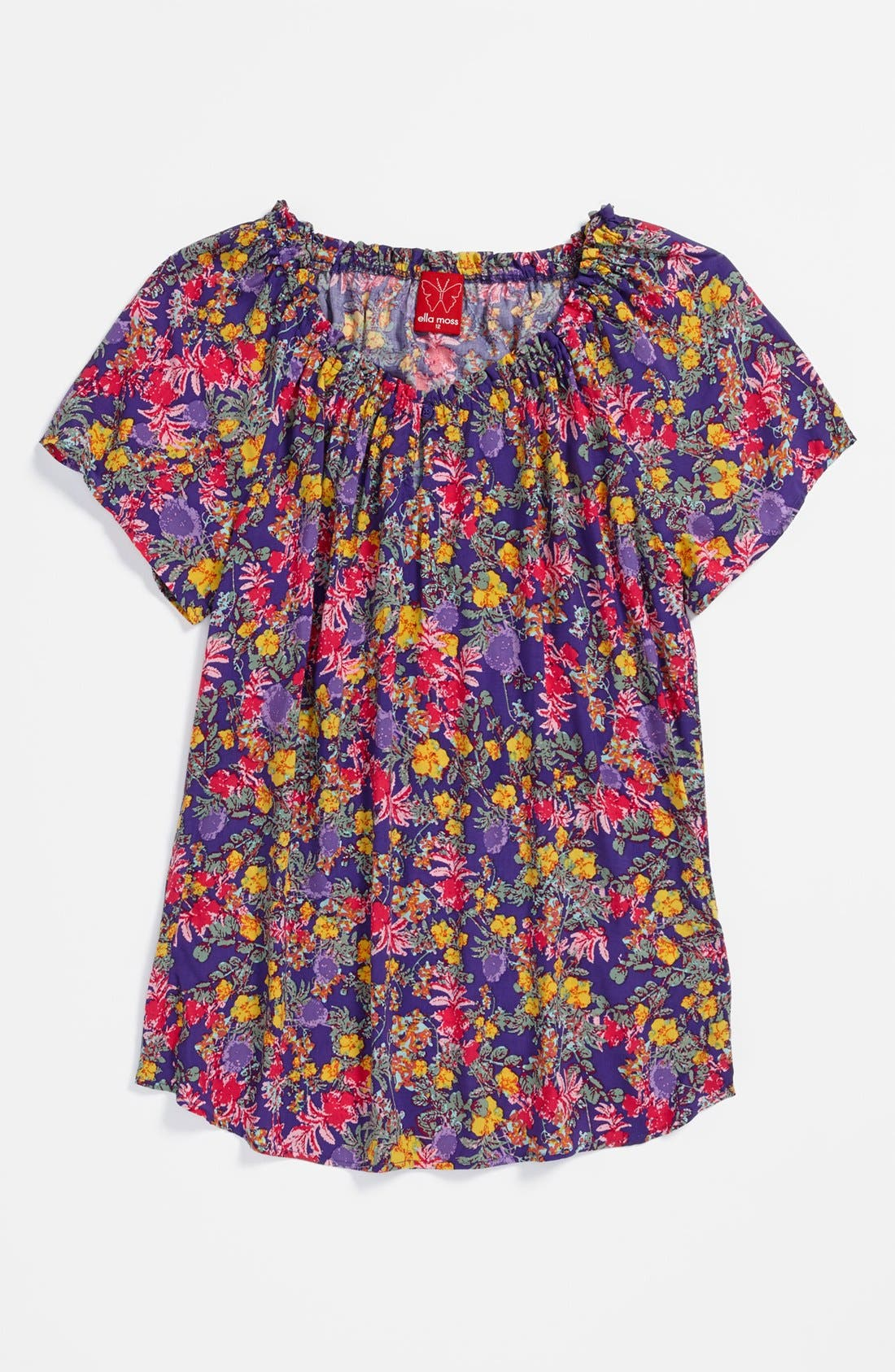 Alternate Image 1 Selected - Ella Moss 'Vineyard' Floral Top (Big Girls)