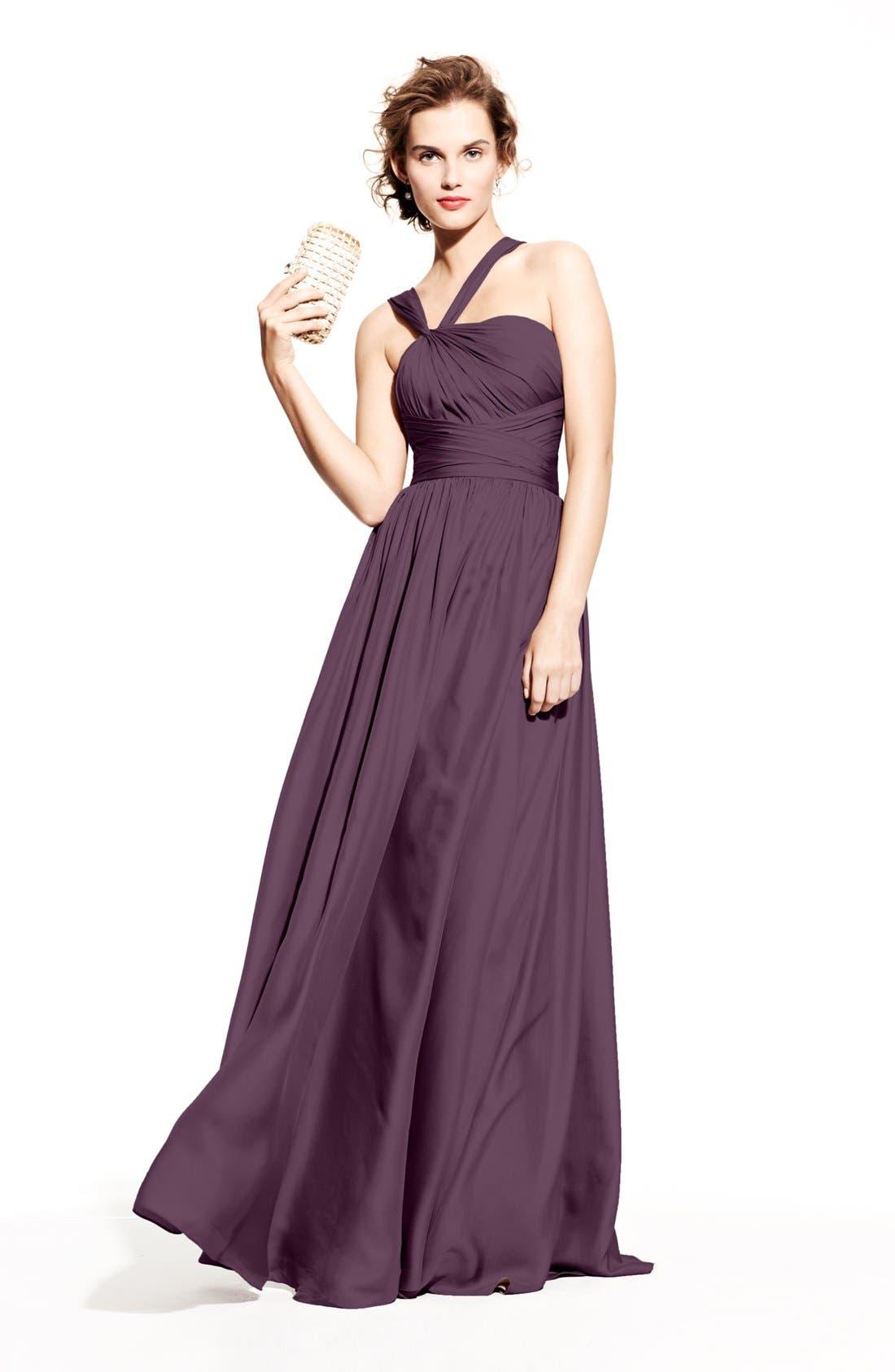 Alternate Image 5  - Monique Lhuillier Bridesmaids Twist Shoulder Satin Chiffon Gown (Nordstrom Exclusive)
