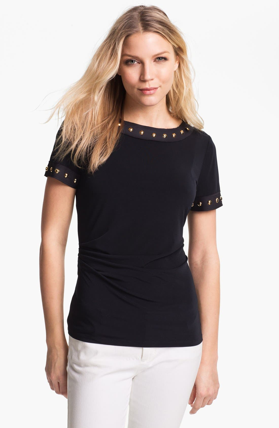 Alternate Image 1 Selected - MICHAEL Michael Kors Studded Matte Jersey Top (Petite)