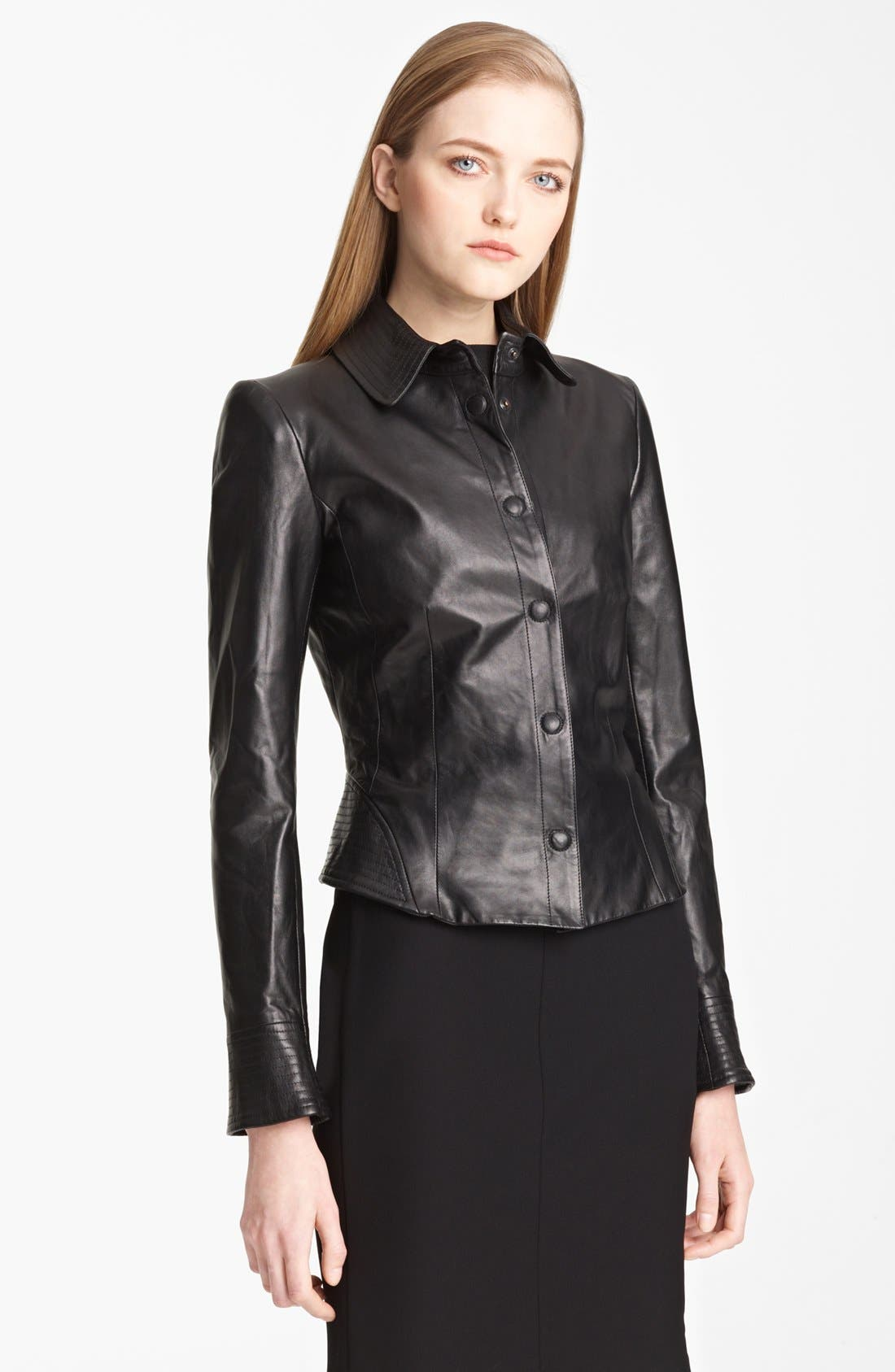 Alternate Image 1 Selected - Armani Collezioni Nappa Leather Jacket