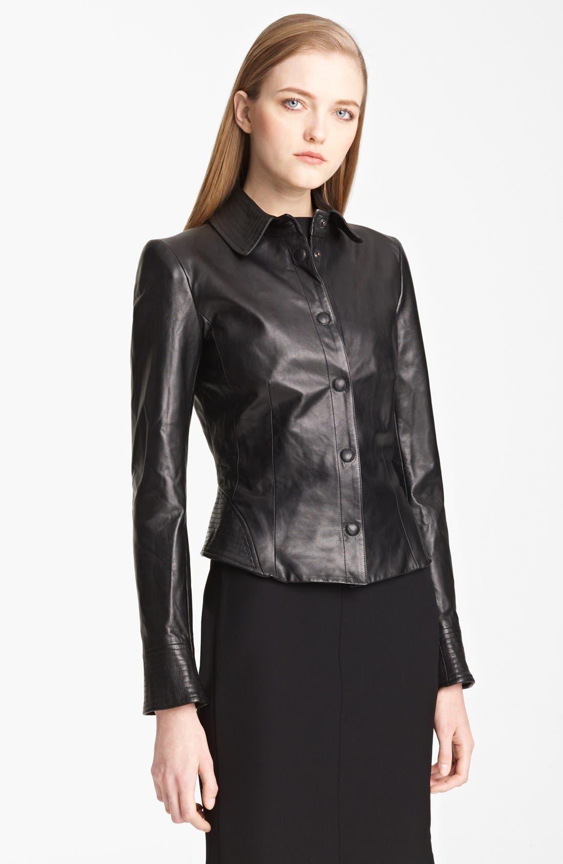Main Image - Armani Collezioni Nappa Leather Jacket