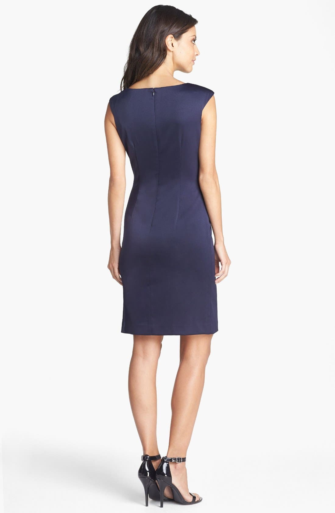 Alternate Image 2  - Eliza J Side Pleat Sheath Dress (Petite)