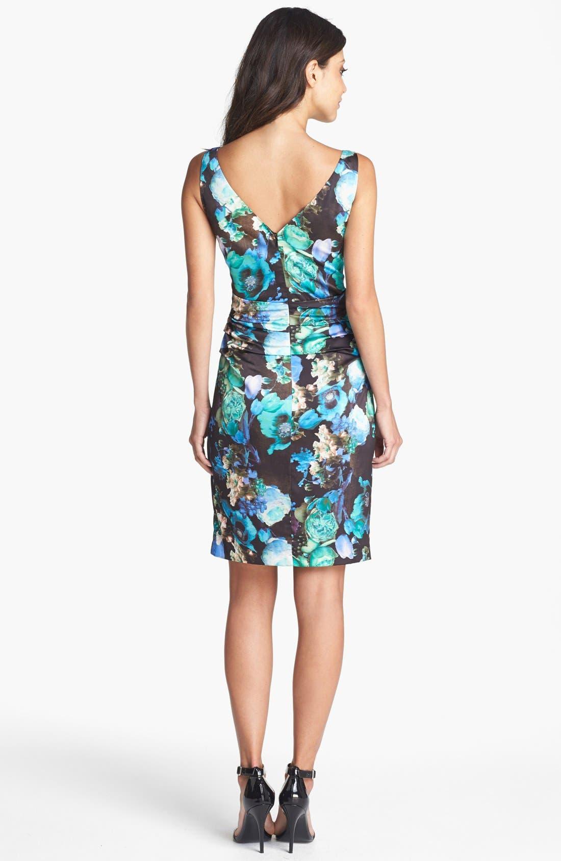 Alternate Image 2  - Ivy & Blu Print Ruched Sheath Dress