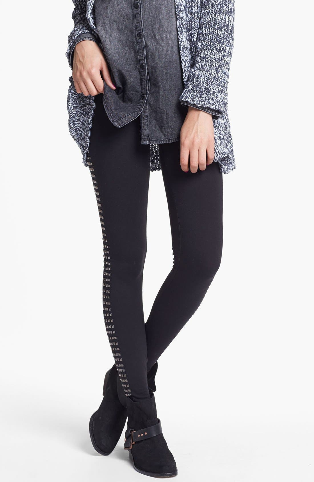 Alternate Image 1 Selected - Rubbish® Square Studded Leggings (Juniors)