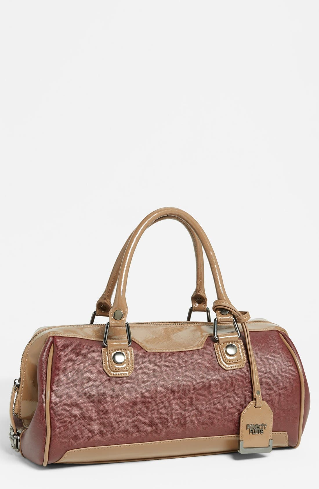 Main Image - POVERTY FLATS by rian 'Shiny & Matte' Faux Leather Satchel, Medium