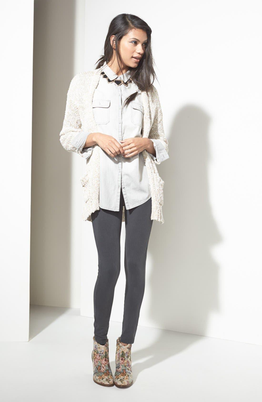 Main Image - BP. Chambray Shirt, Rubbish® Cardigan & Denim Leggings