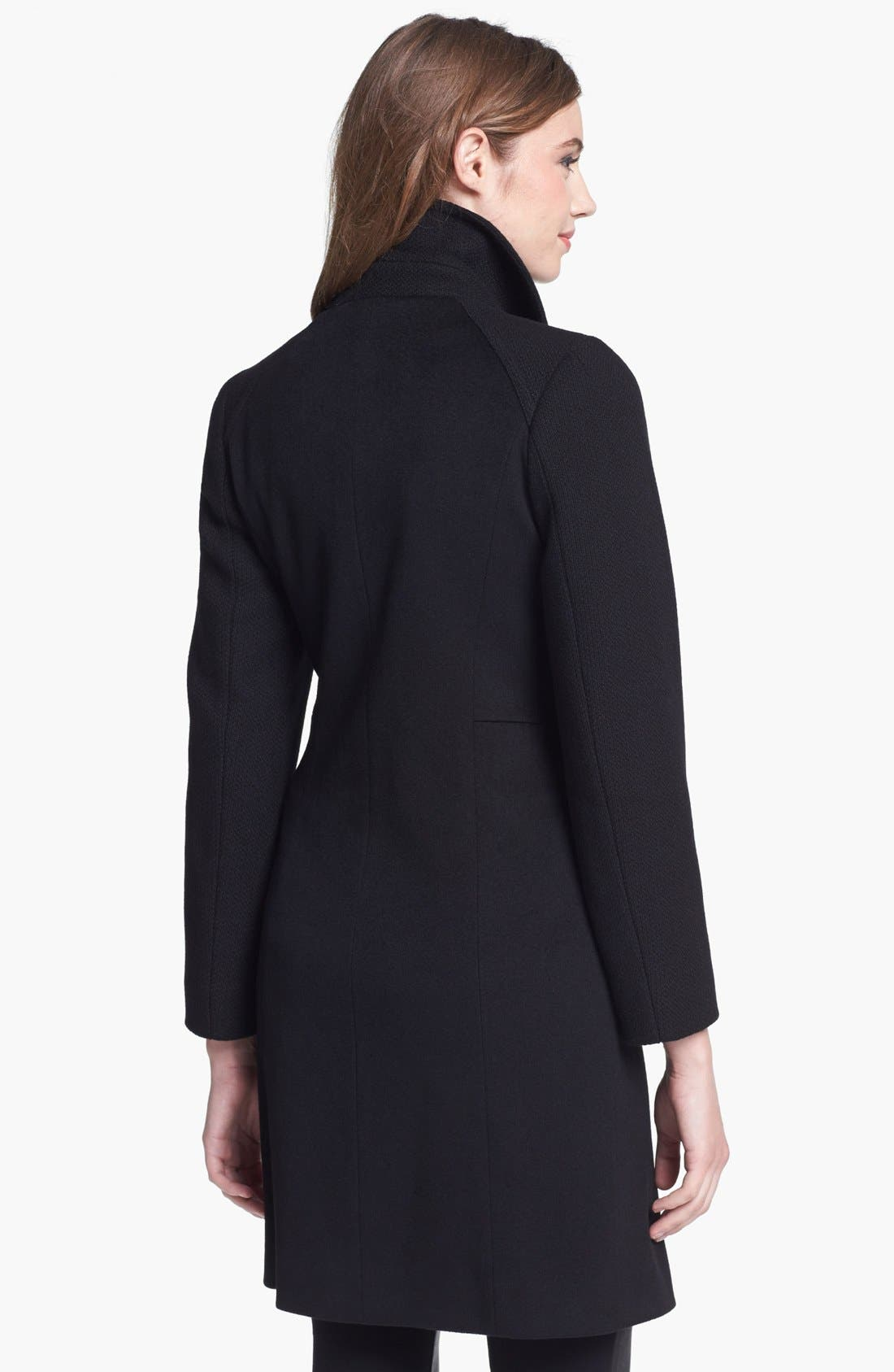 Alternate Image 2  - Cinzia Rocca Clip Front Wool Walking Coat (Petite)