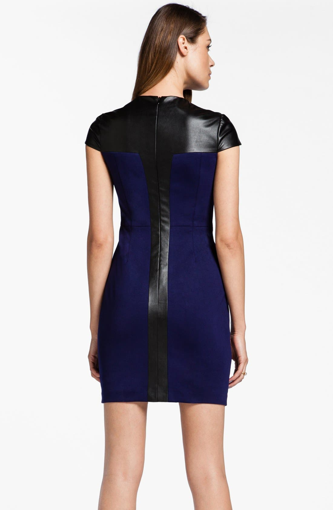 Alternate Image 2  - Cynthia Steffe 'Pandora' Faux Leather Trim Sheath Dress