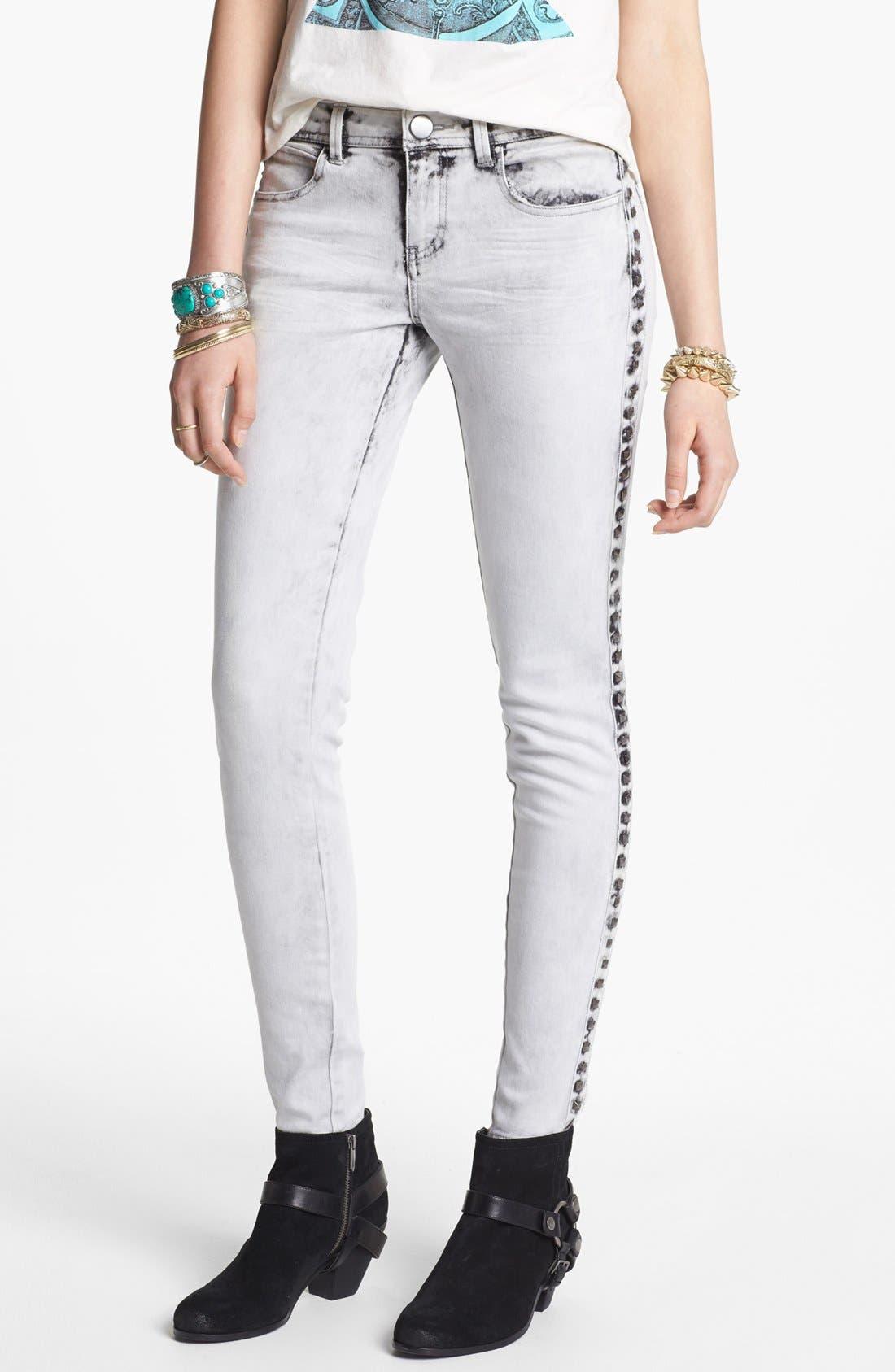 Alternate Image 1 Selected - Fire Studded Acid Wash Skinny Jeans (Grey) (Juniors)
