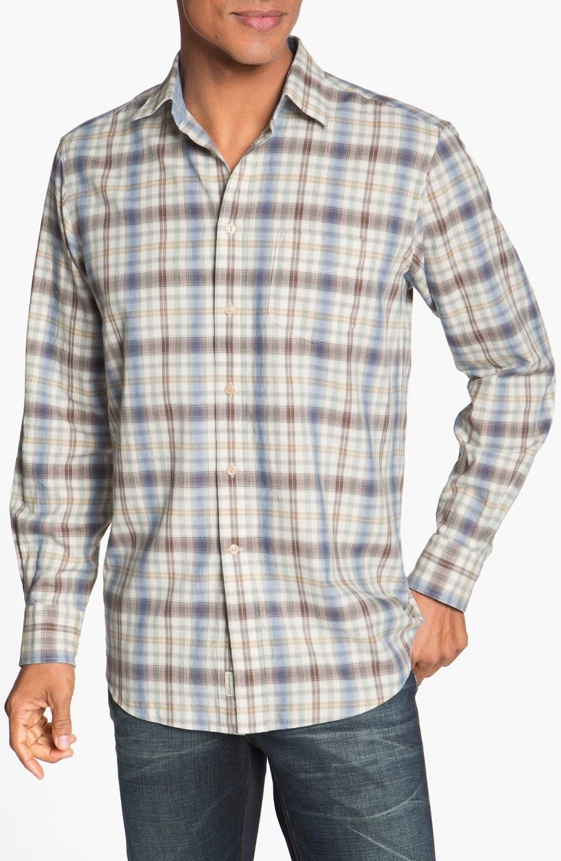 Alternate Image 1 Selected - Façonnable Club Fit Plaid Sport Shirt
