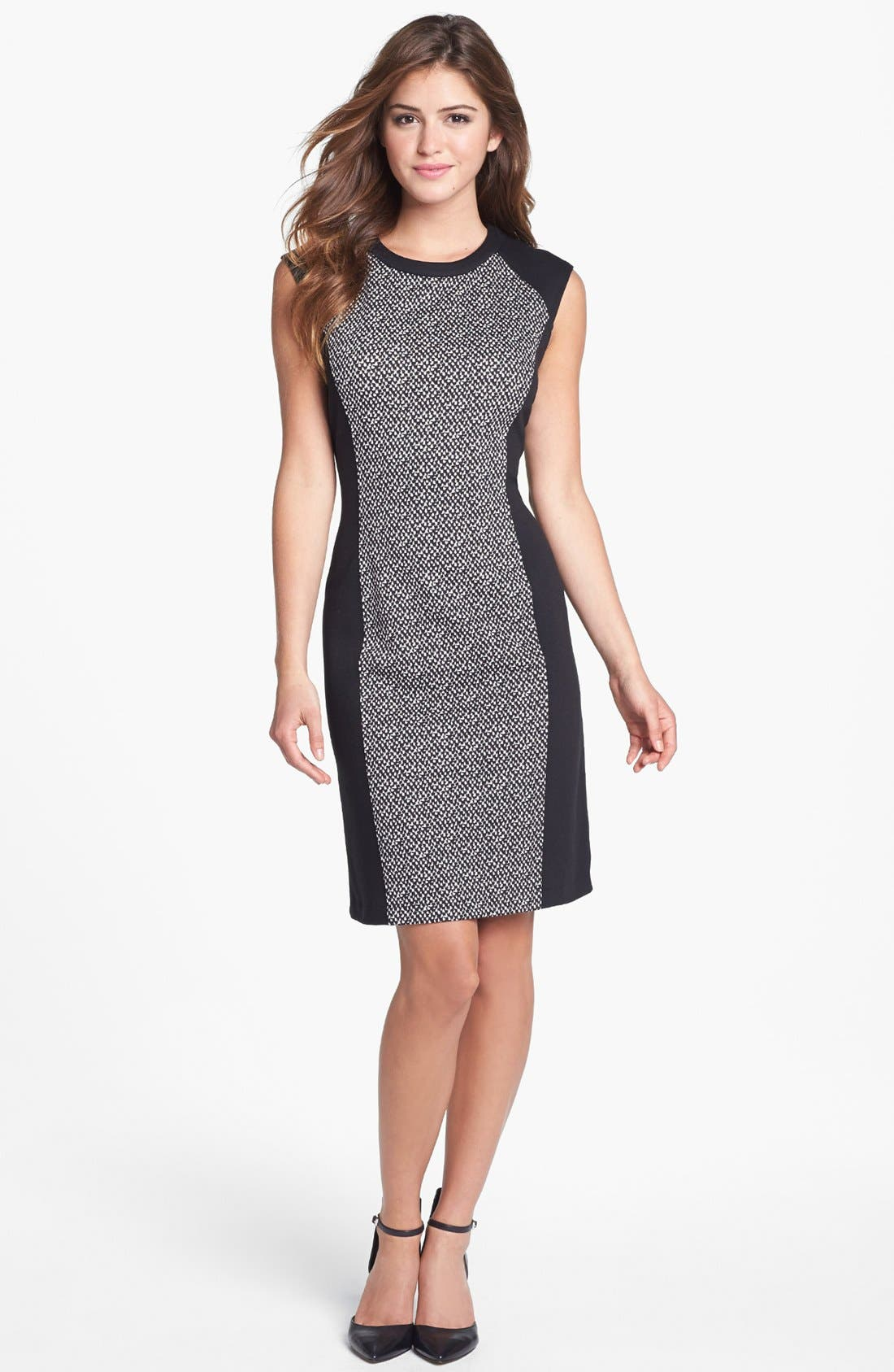 Main Image - Calvin Klein Colorblock Print Ponte Knit Dress (Online Only)