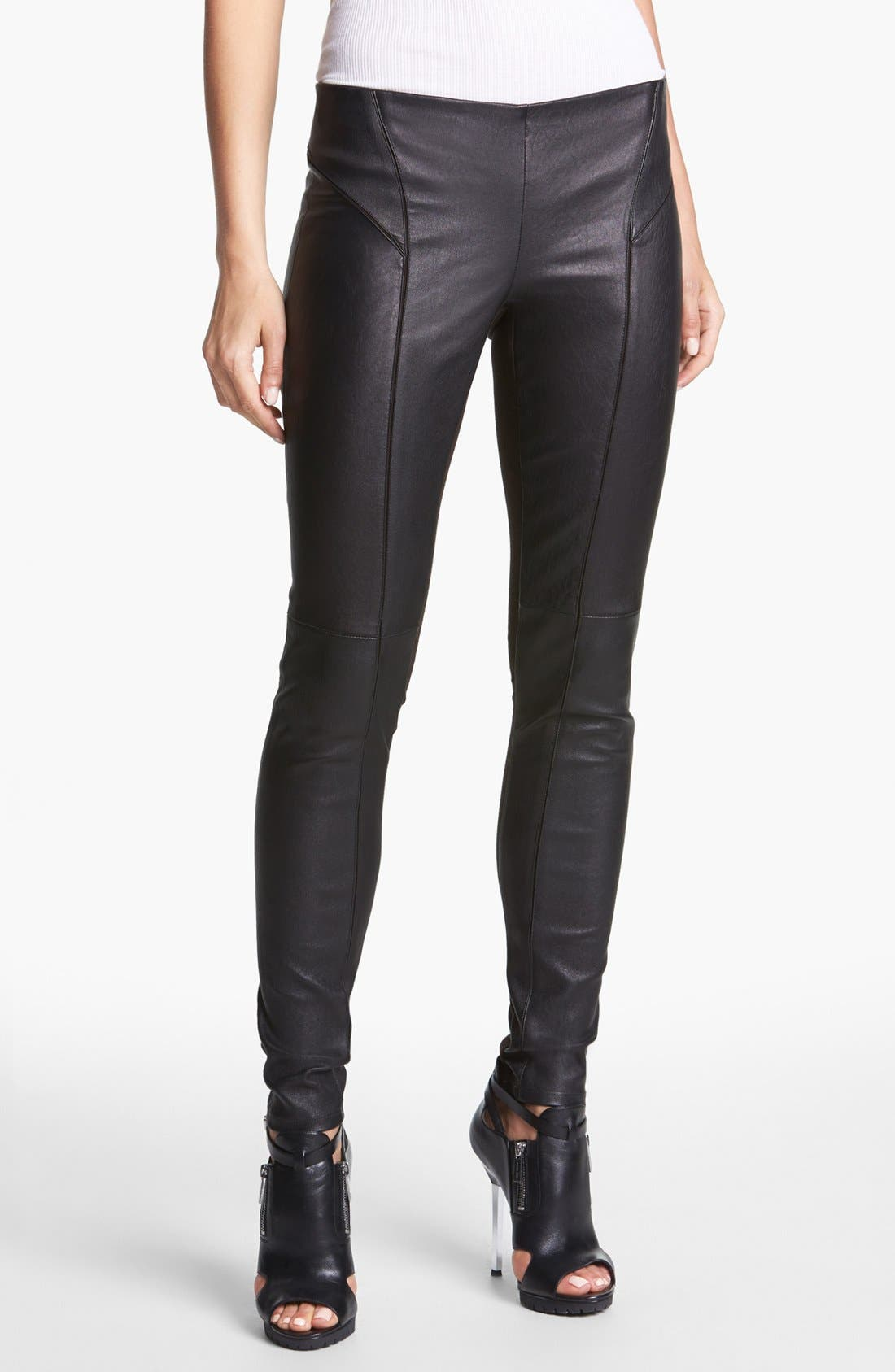 Alternate Image 1 Selected - Theory 'Miana' Leather & Knit Skinny Pants