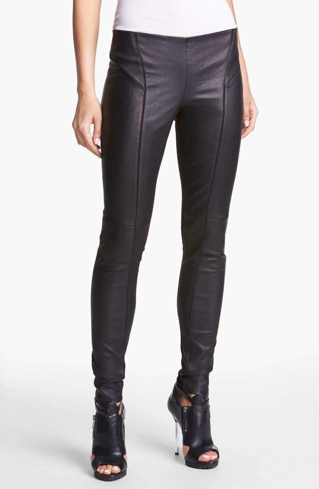 Main Image - Theory 'Miana' Leather & Knit Skinny Pants