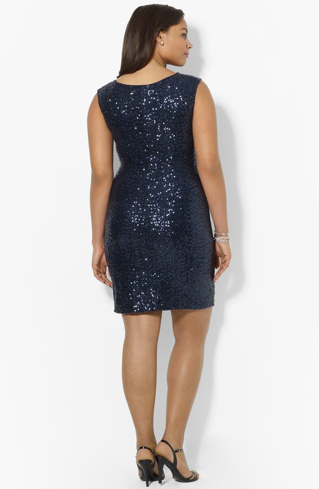 Alternate Image 2  - Lauren Ralph Lauren Sequin Sheath Dress (Plus Size)