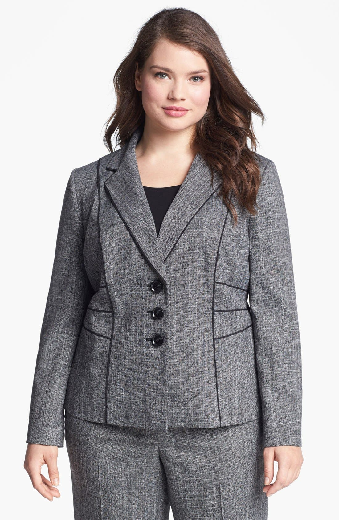 Main Image - Sejour 'Gibson' Piped Suit Jacket (Plus Size)